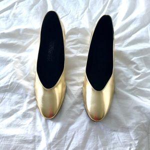 NIB Naturalizer Metallic Gold Semi-Wedge Heels